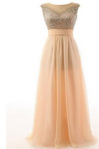 Graceful Scoop Peach Sleeveless Organza Backless Mother of Groom Dress for Prom and Party