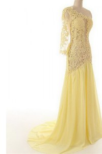 Clearance One Shoulder Side Zipper Mother of the Bride Dress Light Yellow for Prom and Party with Lace Sweep Train