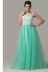 Charming Turquoise Column/Sheath Scoop Sleeveless Tulle Floor Length Criss Cross Lace Mother Dresses