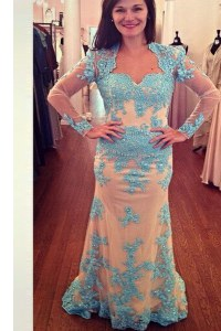 White and Blue Long Sleeves With Train Beading Zipper Mother of the Bride Dress