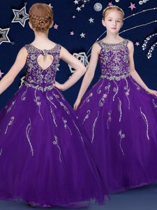 Scoop Purple Sleeveless Organza Lace Up Little Girl Pageant Gowns for Quinceanera and Wedding Party