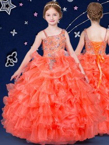 Cheap Beading and Ruffled Layers Child Pageant Dress Orange Lace Up Sleeveless Floor Length