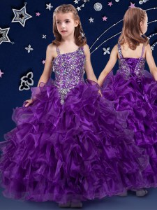 Purple Little Girls Pageant Dress Quinceanera and Wedding Party and For with Beading and Ruffled Layers Asymmetric Sleeveless Lace Up