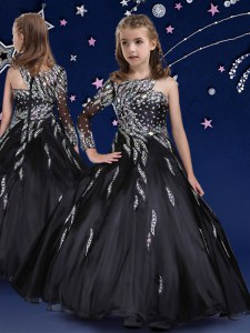 Best Black Sleeveless Organza Zipper Girls Pageant Dresses for Quinceanera and Wedding Party