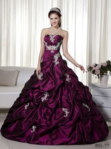 Purple Quinceanera Dresses Gowns with Sliver Details and Pick-ups