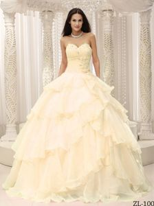 Champagne Sweetheart Sweet Sixteen Dresses With Layers of Ruffles