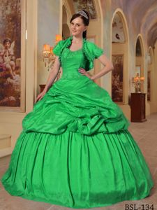 Green Taffeta Quinceanera Dress with Embroidery and Pick-ups for 2013