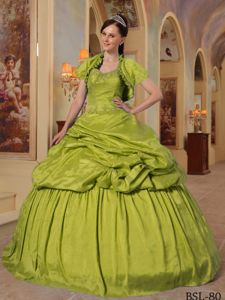 Yellow Green Sweetheart Quince Dress with Beading and Matching Jacket