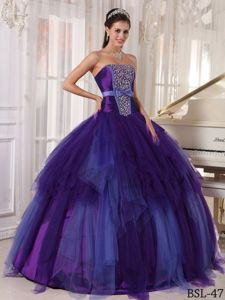 2014 Purple and Blue Tulle Strapless Sweet Sixteen Dresses with Beading