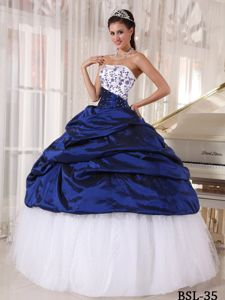 Royal Blue and White Taffeta and Tulle Quinceanera Gown with Embroidery