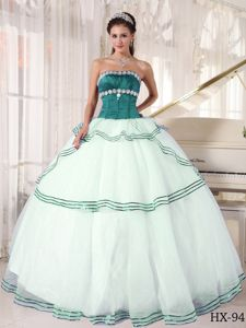 Teal and White Organza Quince Dress with Strapless Neck and Appliques