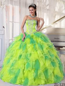 Paris Fashion Week Yellow and Green Dress For Quince with Beaded Bodice and Ruffled Skirt
