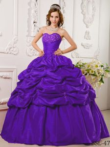 Purple Sweetheart Sweet 16 Dresses with Beaded Decorate Bust and Pick-ups
