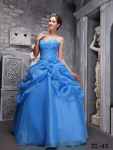 Blue Organza Sweet Sixteen Quinceanera Dresses with Beading and Ruches