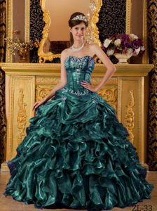 Hunter Green Organza Quinceanera Dress with Boning Details and Ruffles for Miss Freedom Of The World
