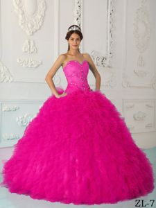 Hot Pink Sweetheart Quinceanera Dress by Satin and Organza with Beading New Girl dress