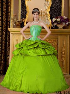 Taffeta Quinceanera Gown with Strapless Neck and Appliques
