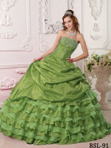 Olive Green Taffeta Sweet Sixteen Dresses with Beaded Bust and Layered Skirt