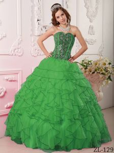 Dark Green Quince Gown with Bodice by sequined Fabric and Ruffled Skirt