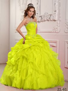 Yellow Quinceanera Dress by Taffeta and Organza with Beading and Ruffles