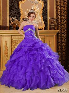 2014 Purple Sweet Sixteen Quinceanera Dresses with Beading and Ruffles