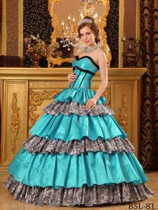 Turquoise Quinceanera Dress with Sweetheart Neck and Leopard Print layers
