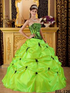 Yellow Green Taffeta Strapless Dress For Quinceaneras with Black Embroidery