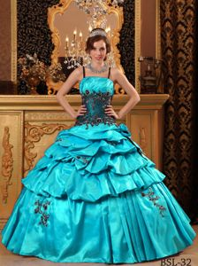 Baby Blue Taffeta Quinceanera Gown with Spaghetti Straps and Appliques