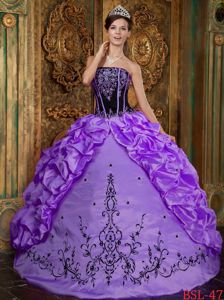 Purple Strapless Quince Dress by Taffeta with Embroidery and Boning Details