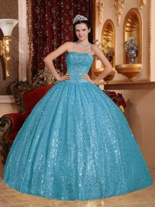 Aqua Blue Sweetheart Quinceanera Gown Dress by Sequined Fabric for 2013
