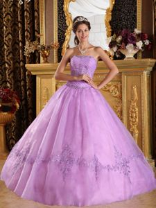 Lavender Tulle Quince Dress with Ruched Bodice and A-Line / Princess Skirt