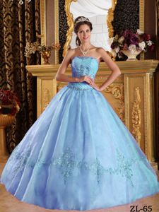 Strapless Sweet Sixteen Dresses by Tulle with Appliques