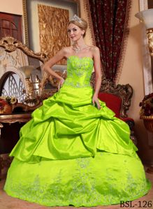 Spring Green Taffeta Quinceanera Dress with Embroidery and Beading
