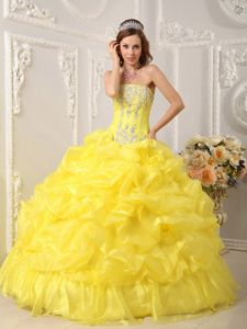 Yellow Organza Quinceanera Gown with Strapless Neck and Beaded Top