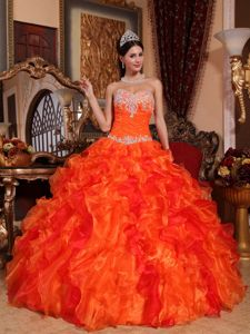 Orange Sweetheart Organza Quinceanera Dress with Appliques and Ruffles