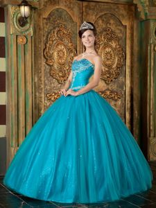 Teal A-Line / Princess Sweetheart Tulle Quinceanera Dress with Beading