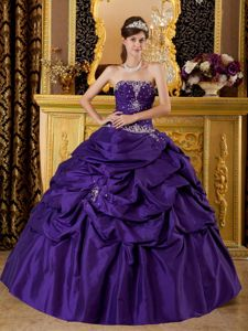 Purple Strapless Quinceanera Gown by Taffeta with Appliques and Beading