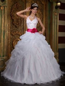 White A-line Halter Quinceanera Dress with Beading and Hot Pink Sash