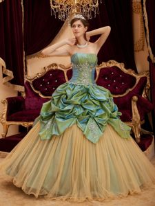 Olive Green and Gold Sweet 16 Dresses by Taffeta and Tulle with Beading