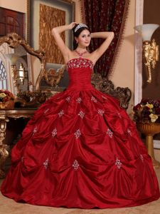 Wine Red Strapless Quinceanera Dress by Taffeta with Appliques for 2013