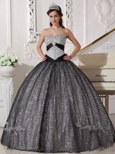 Black and Silver Sweetheart Quinceanera Gown Dress by Sequined Fabric