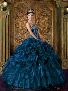Teal Organza Strapless Quinceanera Dress with Appliques and Ruffles