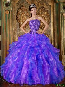 Blue and Purple Strapless Quinceanera Dress with Beading and Ruffles