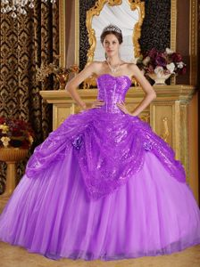 Sequins Tulle Sweetheart Pick Ups Lilac Quinceanera Dresses