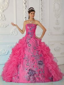 Strapless Ruffled Hot Pink Sweet 15 Dresses with Embroidery