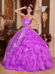 Design Your Lilac Ruffled Appliqued Quinces Dresses