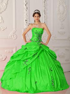 Green Strapless Quinceanera Gowns Dresses with Black Appliques