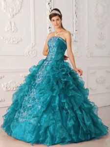 Teal Ball Gown Strapless Embroidery Quinces Dresses