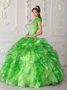 Strapless Spring Green Quinces Dresses with Beading and Ruffles
