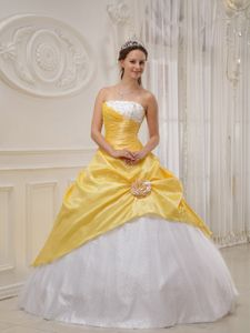 Yellow and White Sweet Sixteen Quinceanera Dress with Flower